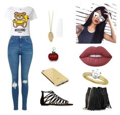 """""""Sem título #985"""" by mahceinha ❤ liked on Polyvore featuring Moschino, Topshop, Lime Crime, Goldgenie, Whistles and Jimmy Choo"""