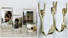 Por que eu não pensei nisso antes? Potes de vidro viram porta retratos. Talheres tortos substituem ganchos na cozinha.