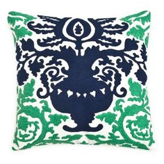 Check out this item at One Kings Lane! Crewel Damask 18x18 Pillow, Green