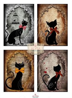 CAT SILHOUETTES Digital Collage Sheet Printable instant download Vintage style…