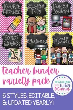 Have you ever wanted to purchase a teacher binder but weren't sure which style you wanted? Or maybe you wanted several styles for different purposes? Then this bundle is for YOU!I created this bundle when I realized many people were torn on which style to get! It allows you to change your binder each year, or use one for your teacher binder and something totally different for your substitute binder or parent contact binder! Learn more... Elementary Teacher Resources for Classroom Management