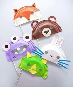 Paper Plate Masks Fun Crafts Kids Ideas Of Paper Plate Crafts for Of July - Projects For Kids, Diy For Kids, Craft Projects, Craft Activities, Preschool Crafts, Straw Activities, Spanish Activities, Dinosaur Activities, Crafts To Do