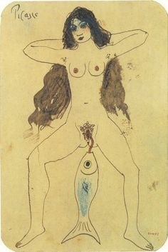 "Pablo Picasso: ""Le maquereau (Composition allégorique)"", Barcelona, [January~Late-October]/1902 [~1903].Pen, sepia wash & colored pencil on business card. 13,9 x 9 cm. Museu Picasso, Barcelona."