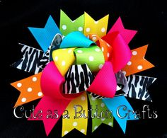 Funky Wild bright and colorful loopy boutique hair bow