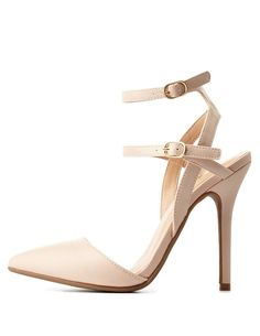 Strappy Ankle Pointed Toe D'Orsay Pumps by Charlotte Russe - Nude