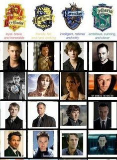 Supernatural, Doctor Who, Sherlock and The Avengers in Hogwarts Housing. Though I think the Doctor should be Ravenclaw Harry Potter Crossover, Fandom Crossover, Supernatural Crossover, Supernatural Fandom, Sherlock Holmes, Sherlock John, Sherlock Poster, Sherlock Fandom, Moriarty