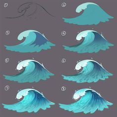 Painting a wave step by step for a future lesson on patreon and future book about digital painting. Painting a wave step by step for a future lesson on patreon and future book about digital painting. Digital Art Tutorial, Digital Painting Tutorials, Art Tutorials, Digital Paintings, Wave Paintings, Art Sketches, Art Drawings, Drawing Faces, Art Sur Toile