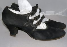 Roaring 20s Shoes | 1920s FLAPPER Era 1920s Roaring 20s Black Suede Mary Jane Shoes