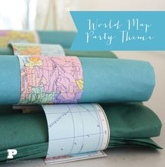 World Map Party Theme, Napkin Rings - cute idea for a women's ministry event on missions ! Theme Nights