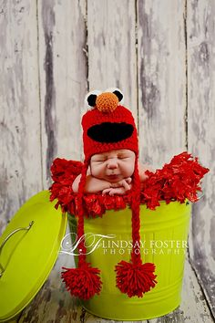 Crochet Elmo Hat Sesame Street by jackiedye on Etsy