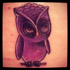 Purple owl tattoo <3