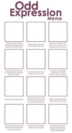 Odd Expressions Meme - Blank by Alamorte. on Odd Expressions Meme - Blank by Art Style Challenge, Drawing Challenge, Art Journal Challenge, Sketchbook Challenge, Drawing Meme, Drawing Tips, Drawing Ideas, Oc Drawing Prompts, Drawing Stuff