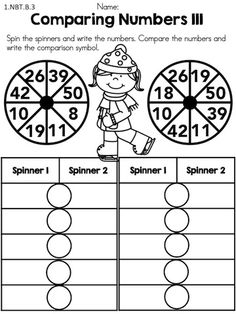 Spin the spinners and compare the numbers >> Part of the Winter 1st Grade Math Worksheets packet >> Common Core Aligned