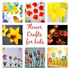 Flower Art for Kids - A celebration of Spring using different art techniques to create these various flower images.