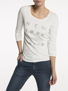 Fitted Travel Themed T-Shirt | T-shirt l/s | Woman Clothing at Scotch & Soda