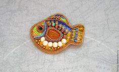 """Купить Брошь """"Маленькая янтарная рыбка"""" - разноцветный, янтарь, брошь, брошь-рыбка, рыбка, рыба"""