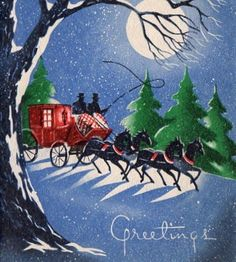 Vintage Christmas card with a moonlit carriage and charming old type.