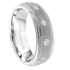 Brush Finished and Multi Grooved Mens Wedding Band Bands