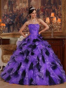 Multicolor Ball Gown Strapless Quinceanera Dresss with Ruffles and Ruching