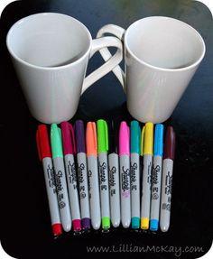 DIY Coffee Mugs = 4 dollar store mugs + sharpies + oven (350 for 30 mins)