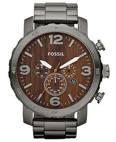 Fossil Watch, Men's Chronograph Nate Smoke Ion Plated Stainless Steel Bracelet 50mm JR1355 - For Him - Jewelry & Watches - Macy's