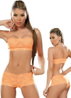 948a00a2d9 Sexy Hot Orange Lace Tank Crop Top Bra and Panties Set  Price   14.99 Crop