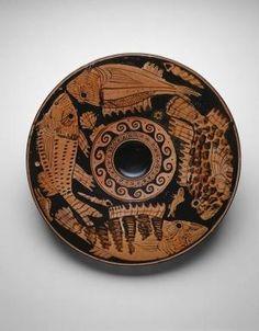 Greek, Athens - Fish Plate, 400–350 B.C. Terracotta, red-figure technique Art Institute Chicago by ella