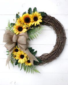 Items similar to Green Sunflower Wreath – Burlap Wreath – Sunflower Vine Wreath – Sunflower Rattan Wreath Autumn Burlap Wreath Fall Wreath Sunflower Wreath on Etsy # Burlap Spring wreath Spring / summer wreath Spring wreath with bow Wreath Crafts, Diy Wreath, Grapevine Wreath, Sunflower Burlap Wreaths, Floral Wreath, Hydrangea Wreath, Blue Hydrangea, Wreaths For Front Door, Door Wreaths