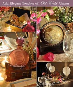 Travel themes kind of lend themselves to the vintage feel.  These are some cool ideas for centerpieces
