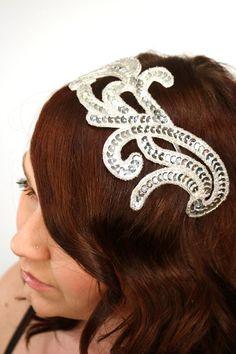 Bridal Headband, Silver Sequins and Beads, Fascinator, Hairpiece - Milky Way - Silver sequin headband. $58.00, via Etsy.