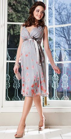 Jasmine Silk Maternity Gown Short (Peach Blossom) by Tiffany Rose