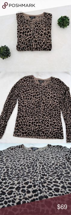[apt.9] cashmere leopard button up sweater Brown & tan cashmere leopard/cheetah print sweater. Button up.  Size: Small Brand: Apt. 9 -100% cashmere -Sweater cardigan  Like new condition! Apt. 9 Sweaters Cardigans
