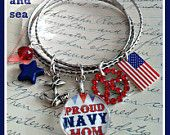 in my shop! Proud US Navy  Mom bangle charm bracelet set by Son and Sea FREE US shipping http://www.etsy.com/shop/sonandsea