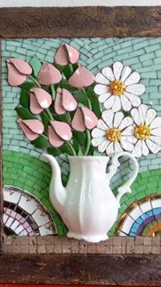 Mosaic Wall Art, Mosaic Glass, Stained Glass, Mosaic Flowers, Glass Flowers, Mosaic Pictures, Mosaic Projects, Dory, Ceramic Art