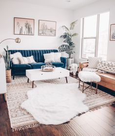 Home Interior Living Room .Home Interior Living Room Casual Living Rooms, Living Room Sets, Home Living Room, Apartment Living, Living Room Designs, Blue Couch Living Room, Apartment Layout, Apartment Ideas, Blue And Gold Living Room