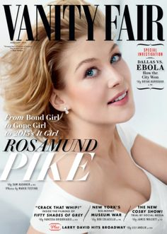 Pin for Later: Kim Kardashian Took On a Designer Dare For Love Magazine Vanity Fair February 2015 Rosamund Pike photographed by Mario Testino. V Magazine, Vanity Fair Magazine, Magazine Covers, Jennifer Aniston, Marie Claire, Rosamund Pike Gone Girl, Rosemund Pike, Entertainment, Belle De Jour