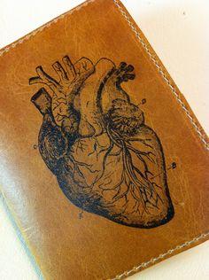 leather wallet billfold men card slots custom for you anatomical heart. $18.00, via Etsy.