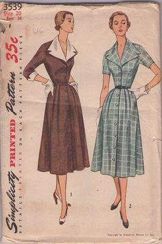 MOMSPatterns Vintage Sewing Patterns - Simplicity 3539 Vintage 50's Sewing Pattern DIVINE Lucy Front Buttoned Coat Dress, Flared Modest Skir...