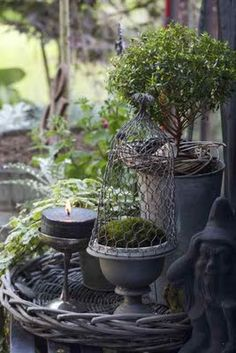 Outdoor Living Spaces - topiary and zinc are used to create an outdoor display - Trädgårdsflow Deco Nature, Deco Floral, My Secret Garden, Garden Styles, Dream Garden, Garden Pots, Garden Bed, Vegetable Garden, Garden Ideas