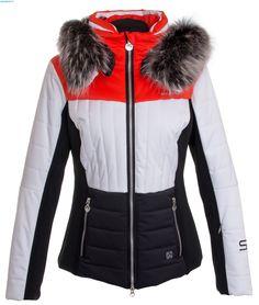 Sportalm Damen Oxalis Ice Jacke mit Kapuze und Pelz – Fire Orange