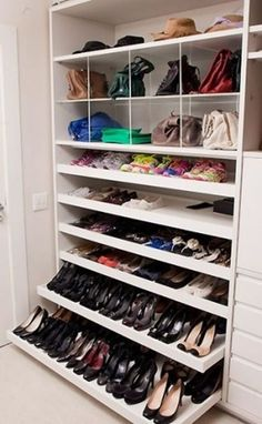Is your closet overflowing? Here are closet storage ideas to help you gain more control over your closet space. Shoe Storage Cabinet, Closet Storage, Closet Shelves, Purse Storage, Shoe Storage Wardrobe, Storage Cabinets, Shoe Cupboard, Ikea Closet, Cupboards
