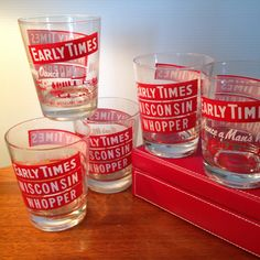 "Set of five vintage ""Early Times Wisconsin Whopper"" cocktail glasses by FromTheSeller on Etsy"