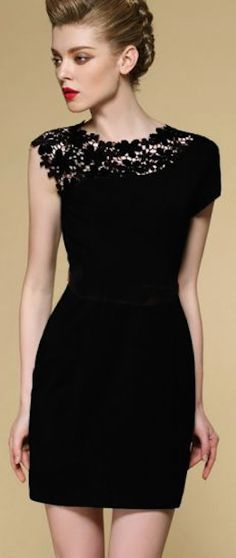 lovely #black lace contrast dress http://rstyle.me/n/hdermr9te