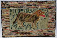 Lot: Folk art hooked rug, portrait of a standing dog, probab, Lot Number: 0330, Starting Bid: $100, Auctioneer: Hyde Park Country Auctions, Auction: COUNTRY AMERICANA & PRIMITIVES SALE, Date: January 7th, 2017 EST