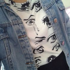 tap the image to get this look! Denim jacket and shirt with eyes.
