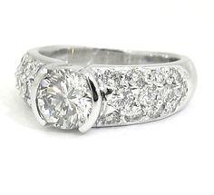 Round diamond engagement ring semi bezel and pave set by KNRINC, $4658.00