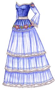 The Twelve Dancing Princesses (A Christmas Tale), Day 4: Gabrielle's Blue Gown with White Ribbon and Pink Columbines | Liana's Paper Dolls
