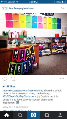 Teacher name sign and wall colors