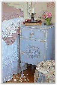 Blue Painted and Distressed Side Table - via Cat-arzyna: Blue