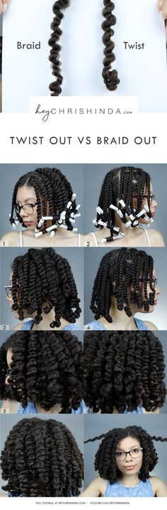 Twist out vs braid out. I wanted to show the difference in curl pattern you get with a twist out and a braid out . #twistout #braidout #naturalhair